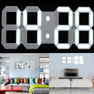 Large Display Digital LED 3D Desk Wall Clock Watch 24 Hour Alarm Home Office New