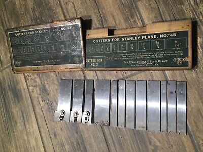 Lot of 12 - Stanley No. 45 Cutters #'s 1 5 6 9 15 16 17 18 19 23 25 26 w/ Box #2