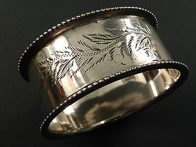 Oval Silver Napkin Ring, Fern Engraved Decoration Birmingham 1901
