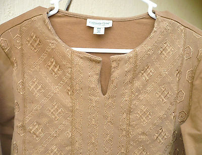 Costume Renaissance Look P M Embroidered Tunic Top Warm Shirt Beige Blouse Women