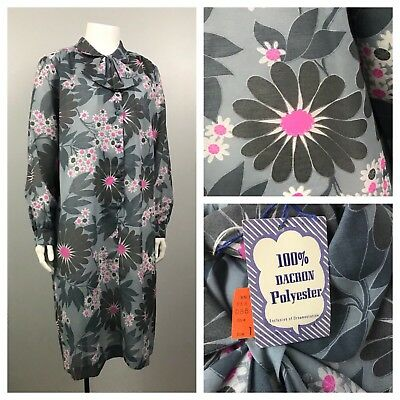 Vintage NOS 1960s Gray & Pink Floral Sheer Button Up Sheath Dress NWT L