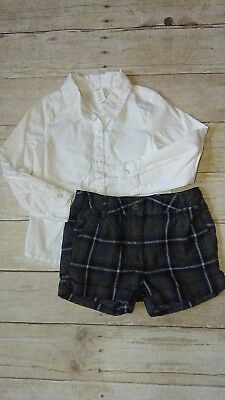 American Kids Plaid Shorts & Old Navy Button Up Shirt Girl's Size 2T 2Y 2pc