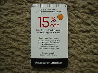 office depot officemax15 off print tech fedex shipping services exp