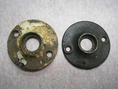2 Old Heavy Castiron  1 15/16 And 1 7/8 Door Knob Rosette Escutcheon Nice