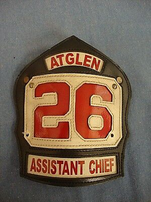 Leather Helmet Shield - Atglen Fire Department - Assistant Chief 26 - PA