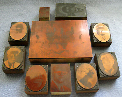 Vintage Smooth Copper Printing Plates on Wooden Blocks, Lot #4, People