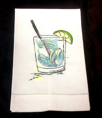 Linen Hand Towel W/ Embroidered Gin & Tonic Design FREE SHIPPING