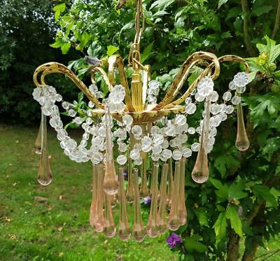 Rare Vintage French Gilt Crystal & Pink Droppers Chandelier,Pretty Vintage Chic!