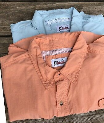 6c8bd852 Lot Of 2 World Wide Sportsman Fishing Shirts Orange Blue Vented Large XL SS