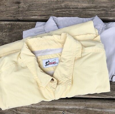 7a050b3f Lot Of 2 World Wide Sportsman Fishing Shirts Yellow Tan Vented Large XL  Men's
