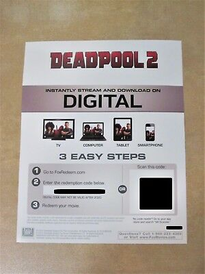 DEADPOOL 2 Digital HD Movie Code Only (For Canada)
