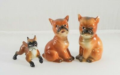 Vintage Boxer Dog Figurines Salt and Pepper Shakers Animal sculptures