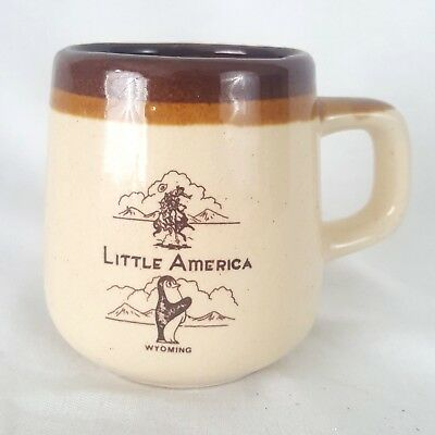 Vintage Little America Wyoming Mug Collectible Travel Beige Tan Brown Small