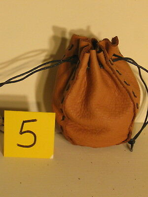 Sgb-05 Small Beige Leather Drawstring Bag Or Purse Free Shipping Within Usa