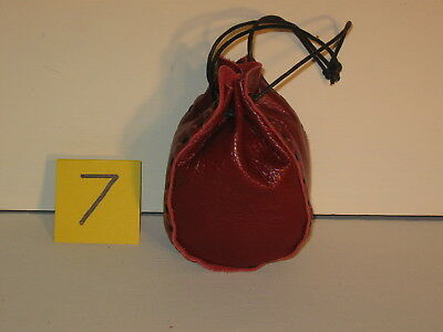 Sgb-07 Small Scarlet Leather Drawstring Bag Or Purse Free Shipping Within Usa