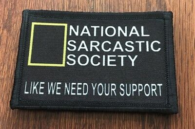 National Sarcasm Society Morale Patch Tactical Military Army Funny Flag USA