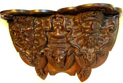 HUGE CARVED GOTHIC WALL SHELF *BLACK FOREST* BEARDED FACES w BAT*ANTIQUE c.1860