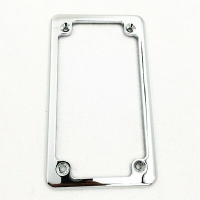 "Chrome Flat License Plate Frame 7"" x 4"" For Honda/Suzuki/Yamaha/Kawasaki/Harley"