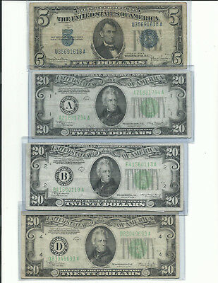 lot of 8-  4 $1 1957 SILVER CERT., $5 1934,  3-1934  $20 notes   $69 face value