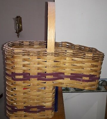 Stair Step Stairway Wood Wicker Basket Woven With Handle DEEP BERRY Trim