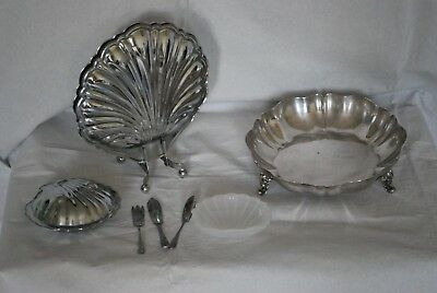 Vintage chrome plated set shell dish servers knives extra dish use or display