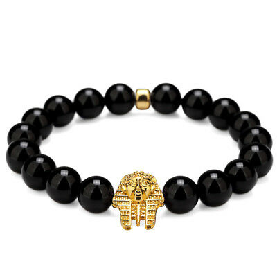 Pharaoh - King Tut - black agate stone bracelet -- Stretch