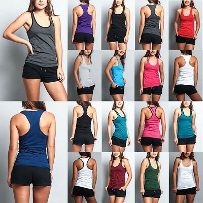 Women's Racer back Basic Light Weight Yoga Gym Active Workout Tank Top (2-Pack)