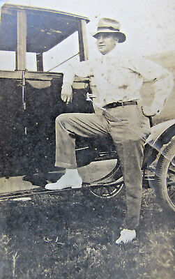 Vintage Early 1900s Cool Farmer Ford Car Automotive Snapshot Photo
