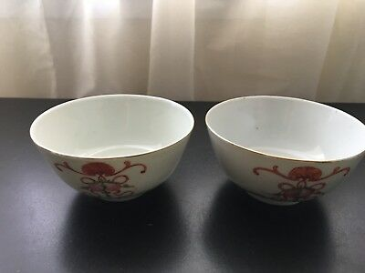 Pair of Chinese Antique Porcelain Bowls with Flowers