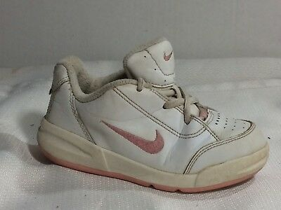 b84fa8dbceee Nike Toddler sz 8 Baby Casual Sneakers Leather White Pink Shoes Girl Non  Marking