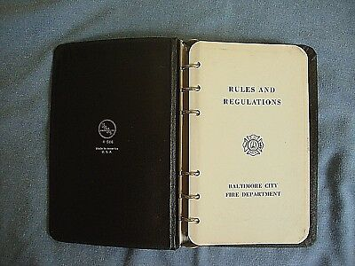 Baltimore City Fire Department - Rules & Regulations Book - 1966