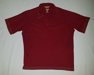 Mountain Hardwear Rust Solid S/s V-Neck Polo Shirt Cotton Poly Blend Size Xl