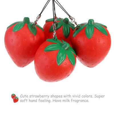 4pcs Strawberry Cream Scented Slow Rising Charms Pendant Strapef for Cell Phone