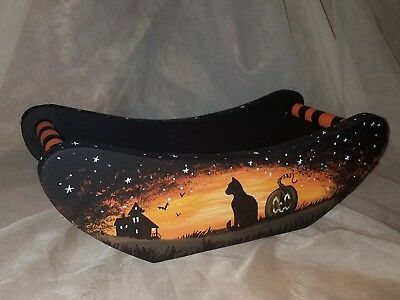 hand painted wood halloween tray candy vintage style black cat witch bat art mmw