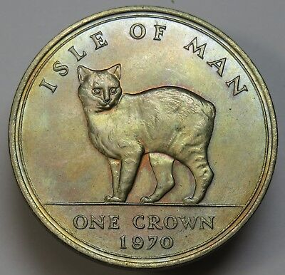 NICELY TONED 1970 Isle of Man one Crown Elizabetth II Manx Cat World Coin #18955