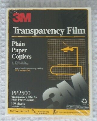 3M TRANSPARENCY FILM For Copiers PP2500 100 SHEETS Sealed Package USA Made NEW