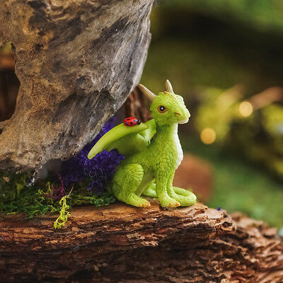 Miniature Dollhouse FAIRY GARDEN Mini Green Dragon With Ladybug