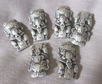 SET OF 6 CAST METAL MAYAN? AZTEC? LADIES? TOTEM POLE? BUTTONS -- NICE!! 1-1/8th