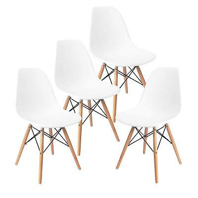 Modern Set of 4 Mid Century DSW Dining Side Chairs Wood Legs Dining Room White