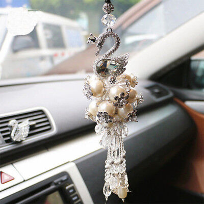 Swan Crystal Ornaments Car Rear View Mirror Hanging Hanger Pendant