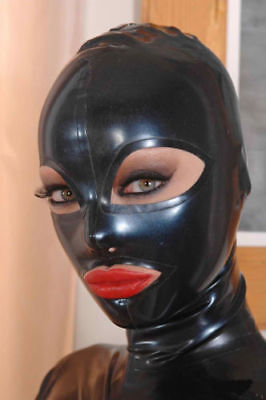 Sexy Full Face Natural Latex Hood Open Eye for Women Halloween Party Mask