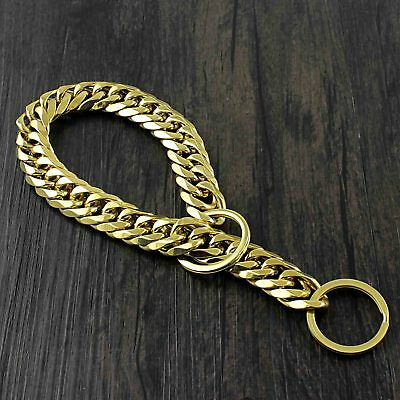 Large Pet Dog Choke Chain Gold Stainless Steel Choker Collar Necklace 18MM