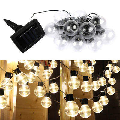 NEW Solar Powered Retro Bulb String Lights For Garden Outdoor Fairy Lamp QU