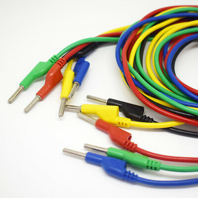 1set 5color 1.5M//5ft Silicone High Voltage Dual 4mm Banana Plug Test Leads Cable