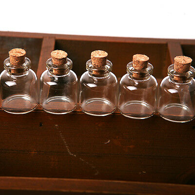 5X Empty Clear Tiny Mini Clear Message Glass Bottles Vials With Cork 22*28 mm au