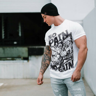 2018 Men Gym No Pain No Gain Bodybuilding Training Fitness Cotton T-shirt Tee
