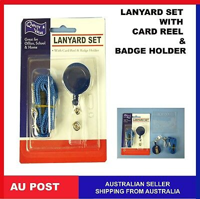 Lanyard SET ID card Badge holder Retractable Clip card Reel Strap idcard new