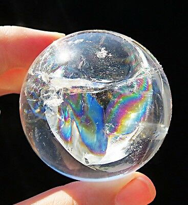 5A++ rare full rainbow !! natural transparent clear crystal sphere ball as gift
