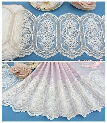 "7""*1Y Embroidered Tulle Lace Trim~Ivory White+Gold~Someone Unique~Wedding/DIY~"