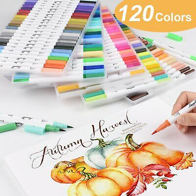 100 Colour Pens Set Watercolor Drawing Painting Brush Artist Sketch Manga Marker
